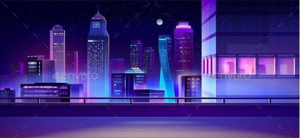 City Night Skyline Cartoon Vector Background - Buildings Objects