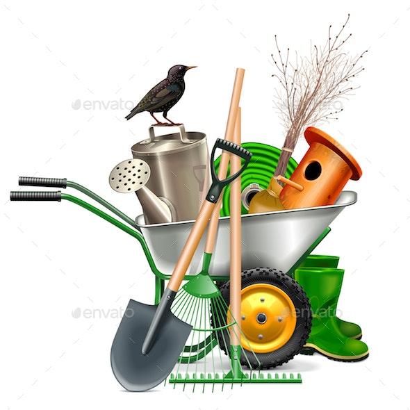 Vector Spring Garden Tools - Flowers & Plants Nature