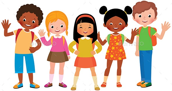 Stock Vector Cartoon Illustration of a Group of Children Students - People Characters