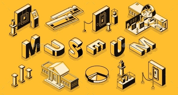 Art Museum Isometric Projection Background - Miscellaneous Vectors