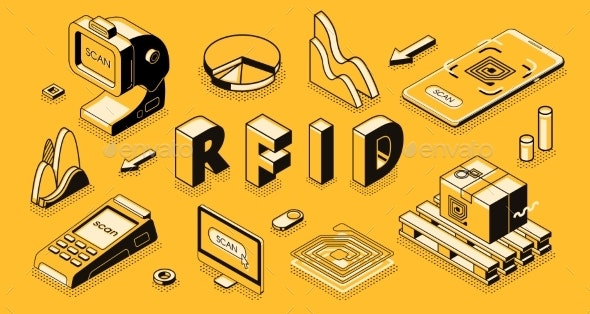RFID Technology Isometric Vector Business Concept - Technology Conceptual
