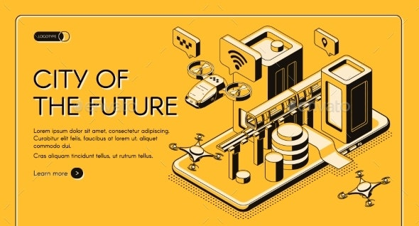 City of Future Isometric Vector Web Banner - Web Technology