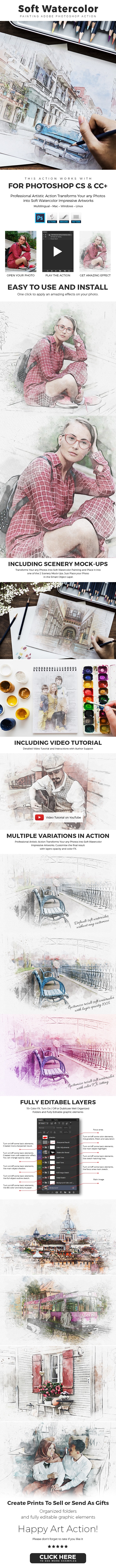 Soft Watercolor Painting Photoshop Action - Photo Effects Actions