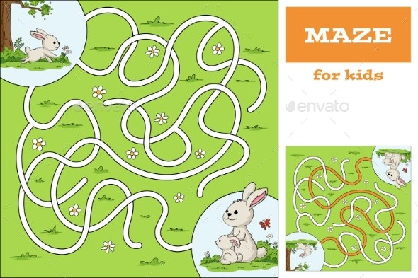 Help the Bunny To Find the Way Game For Kids - Animals Characters