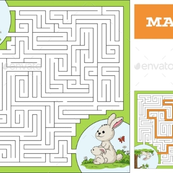 Help the Bunny To Find the Way Maze Game Puzzle