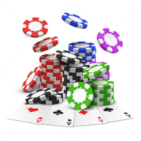 Aces with Stack or Heap of Sport Betting Chips - Miscellaneous Vectors