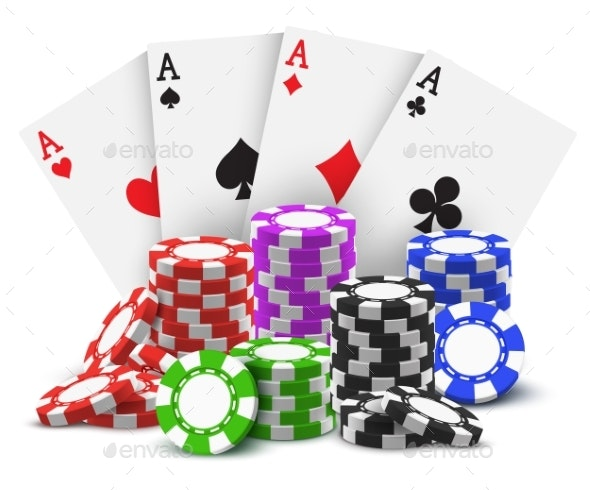 Gambling Cards and Stack or Heap of Poker Chips - Miscellaneous Vectors