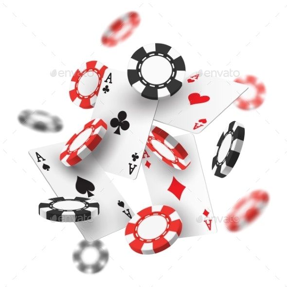 Banner for Casino with Realistic Red and Black Chips - Miscellaneous Vectors