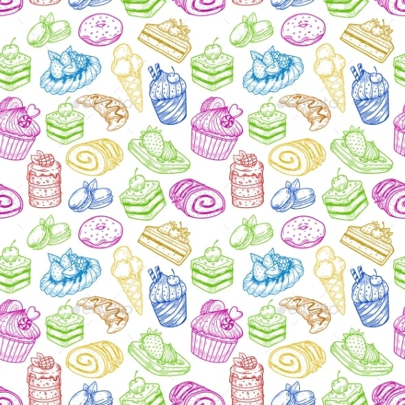 Seamless Pattern Made of Pastry or Bakery Products - Food Objects