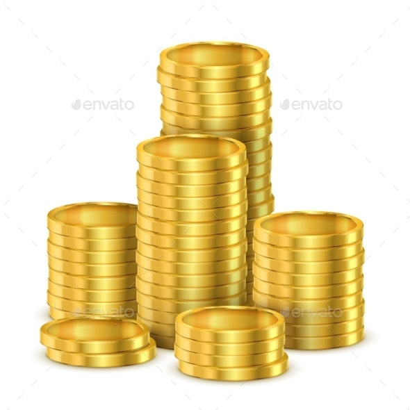 Pile of Golden Coins or Heap of Gold Money - Concepts Business