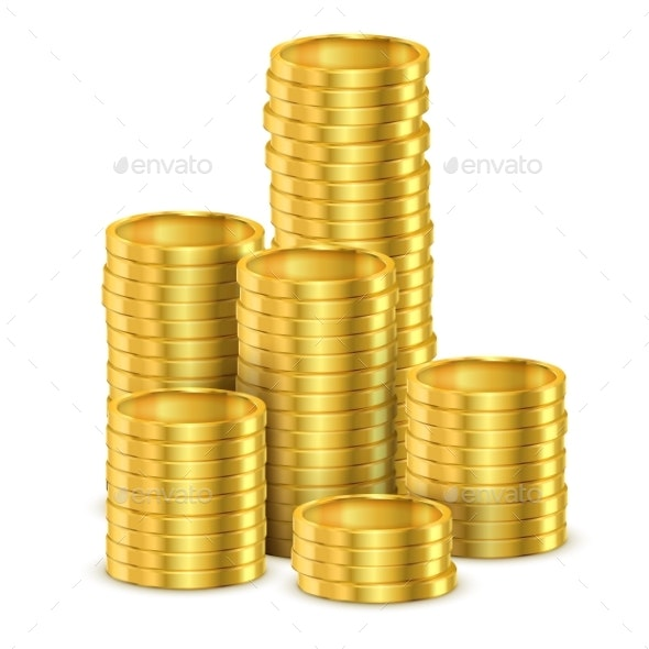 Heap of Shining Coins or Realistic Golden Money - Concepts Business