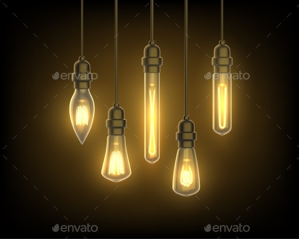 Lantern or Light Bulbs on Wire - Man-made Objects Objects