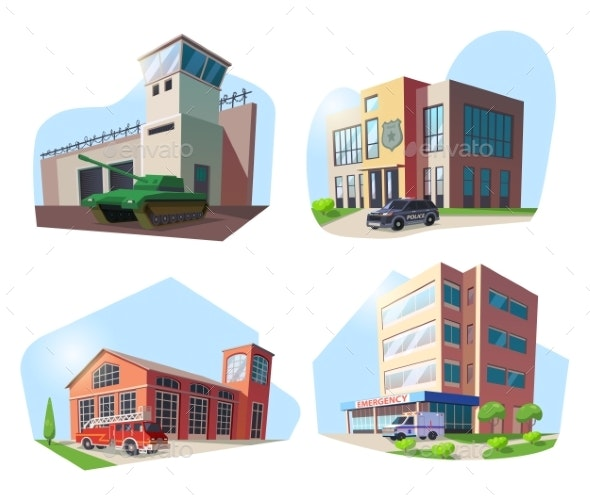 Police, Firehouse, Hospital and Military Base - Buildings Objects