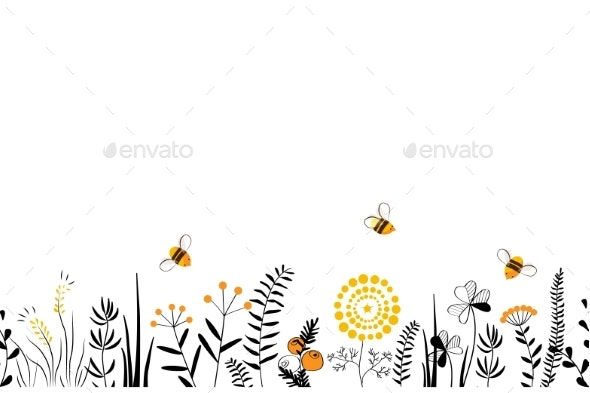 Vector Nature Seamless Background Hand Drawn - Flowers & Plants Nature