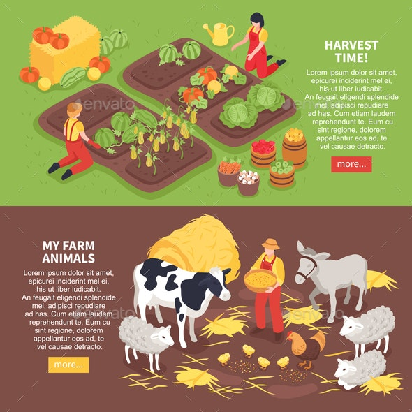 Isometric Farm Banners - Animals Characters