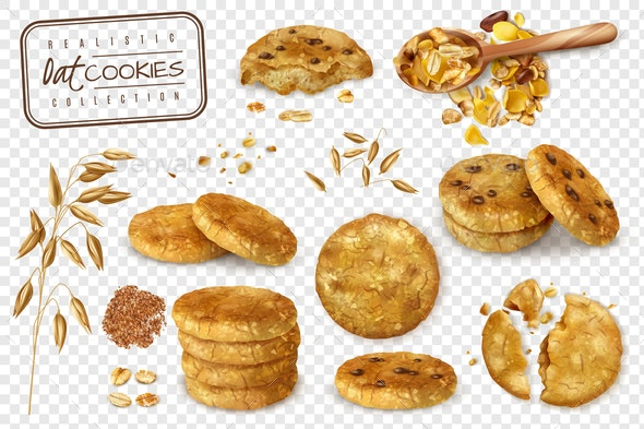 Oat Cookies Transparent Set - Food Objects