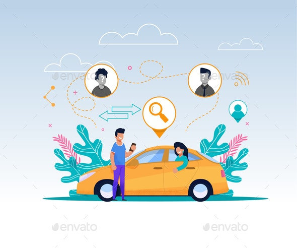 Carpool Service Illustration - Industries Business