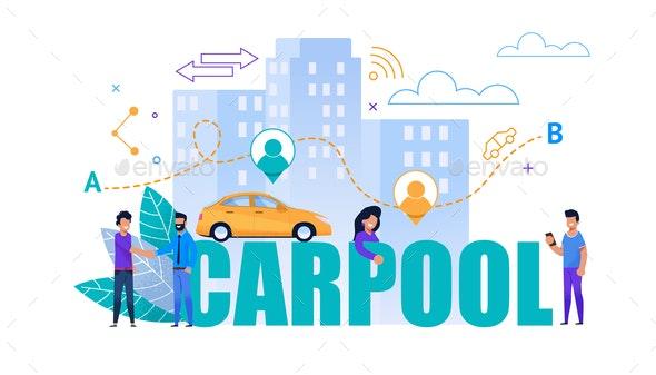 Carpool Vector Flat Banner Transport Cooperation - Industries Business