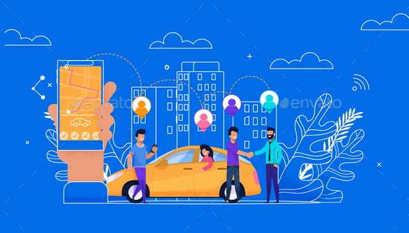 Carsharing Online Simple Flat - Industries Business