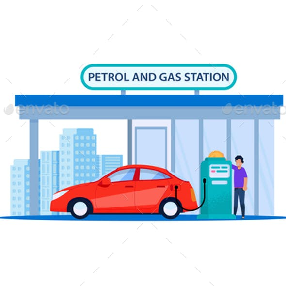 Red Car on Petrol Refill Service