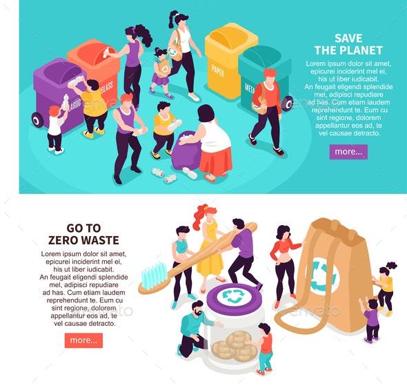 Zero Waste Banners Set - People Characters