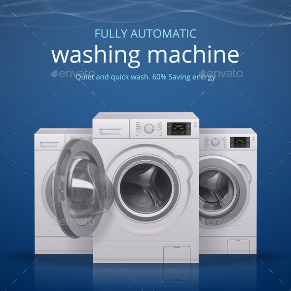 Washing Machine Realistic Poster - Man-made Objects Objects