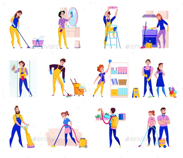 Cleaning Service Set - Industries Business