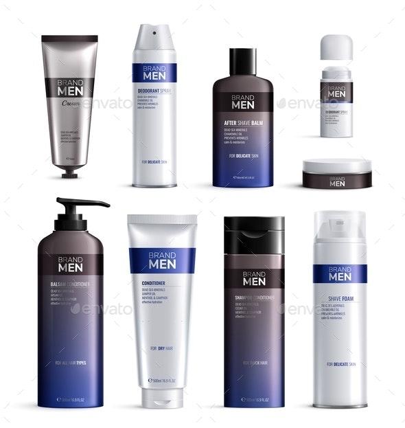 Mens Cosmetics Bottles Design Colored Realistic Icon Set - Health/Medicine Conceptual