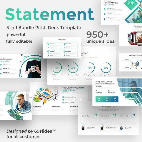 Value Statements 3 in 1 Pitch Deck Bundle Google Slide Template
