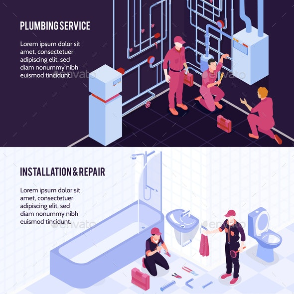 Plumbing Isometric Banners - Services Commercial / Shopping