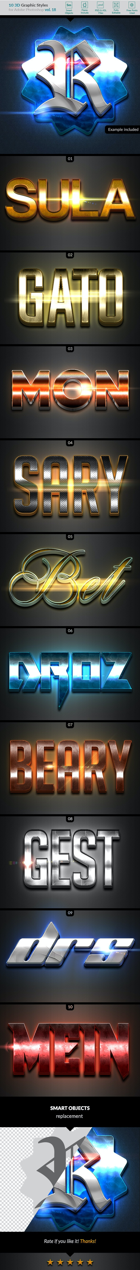 10 3D Styles vol. 18 - Text Effects Styles