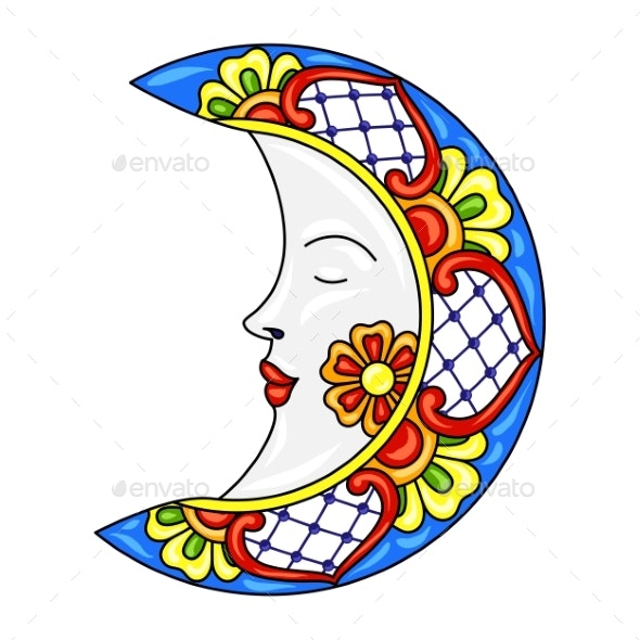 Mexican Moon with Ornamental Flowers - Miscellaneous Characters