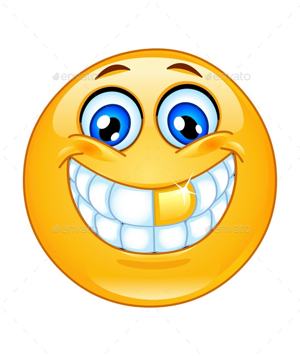 Gold Tooth Emoticon - People Characters