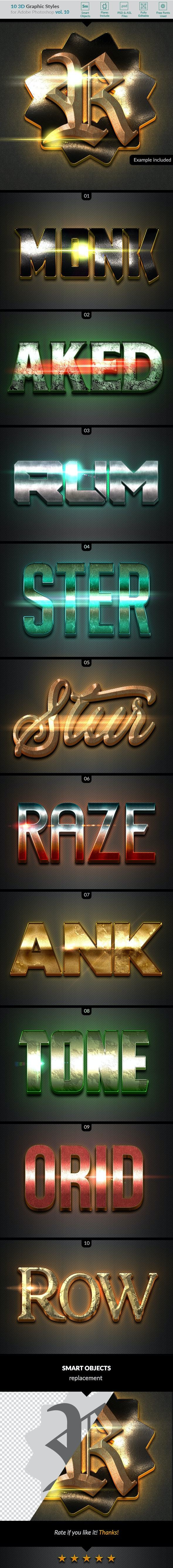 10 3D Styles vol. 10 - Text Effects Styles