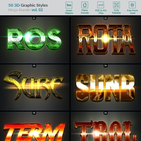 50 3D Text Effects - Bundle Vol. 02