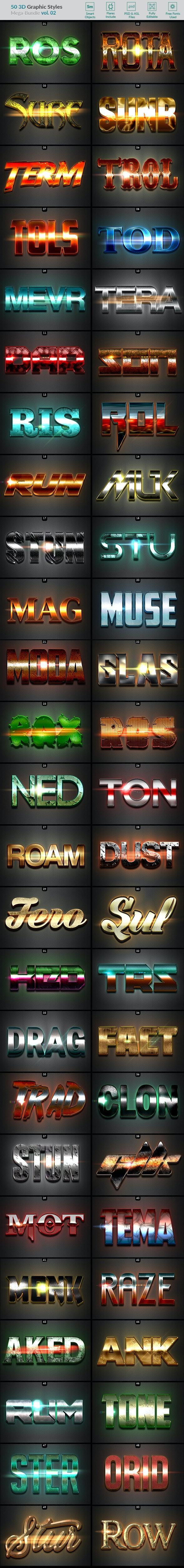 50 3D Text Effects - Bundle Vol. 02 - Styles Photoshop
