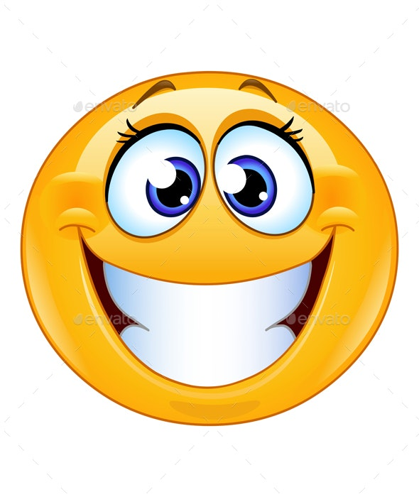 Grinning Female Emoticon - People Characters