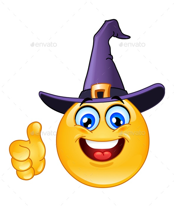 Emoticon with Witch Hat - Halloween Seasons/Holidays