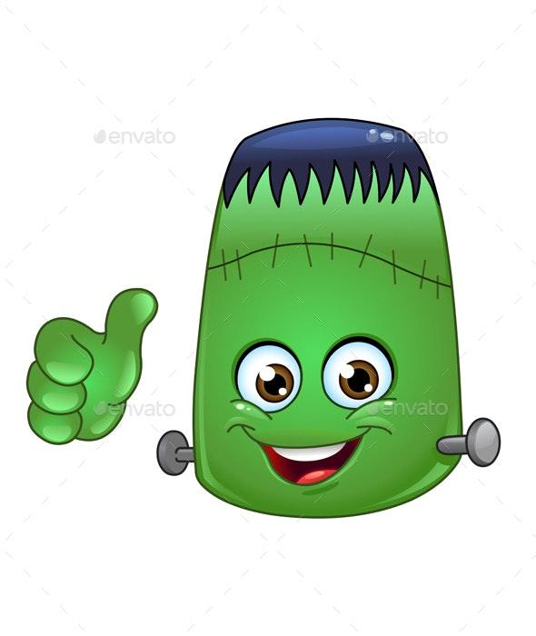 Frankenstein Emoticon - Halloween Seasons/Holidays