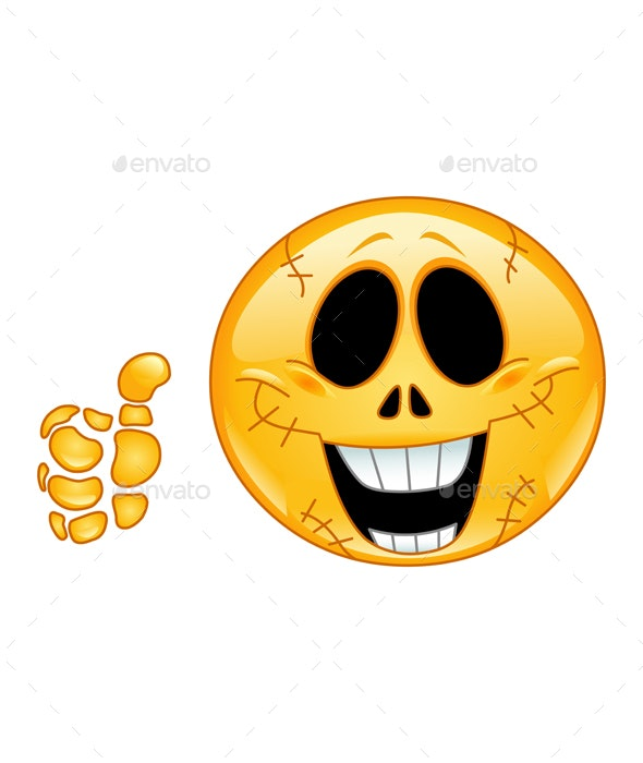 Skull Emoticon - Halloween Seasons/Holidays