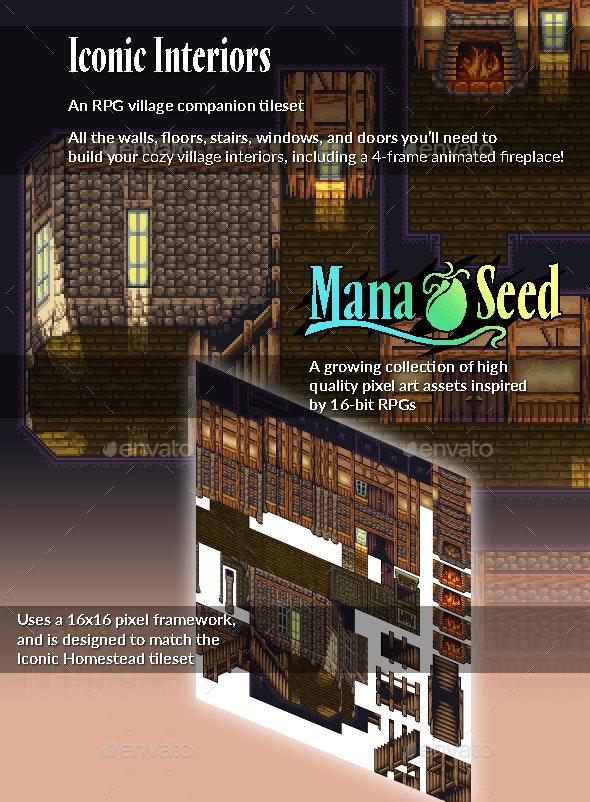 Iconic Interiors - Pixel Art Tileset - Tilesets Game Assets