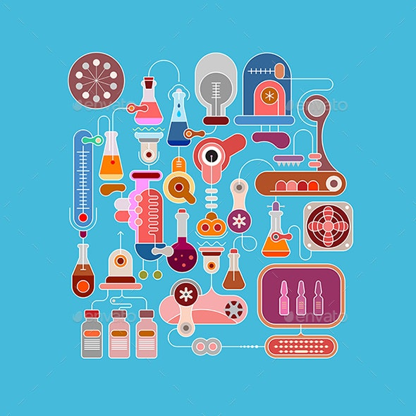 Research Laboratory Equipment Vector Illustration - Health/Medicine Conceptual
