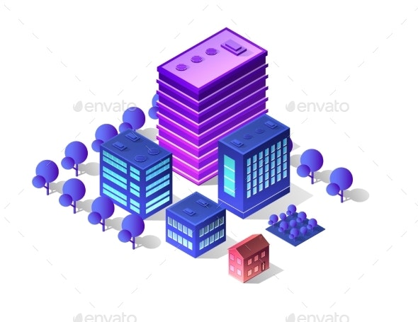 Futuristic Isometric Buildings - Buildings Objects