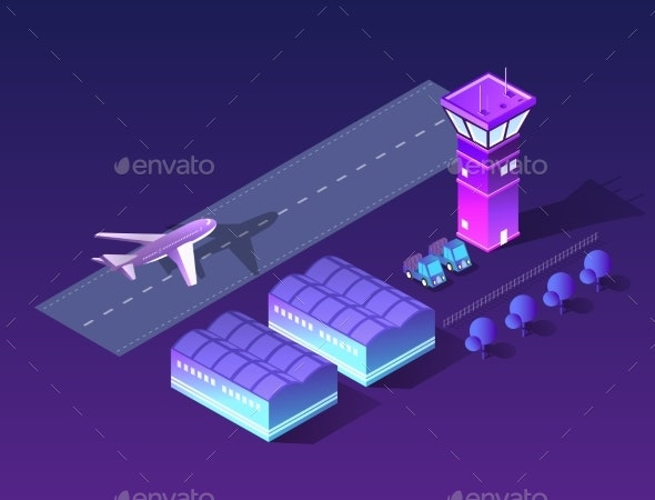Future Isometric Airport - Travel Conceptual