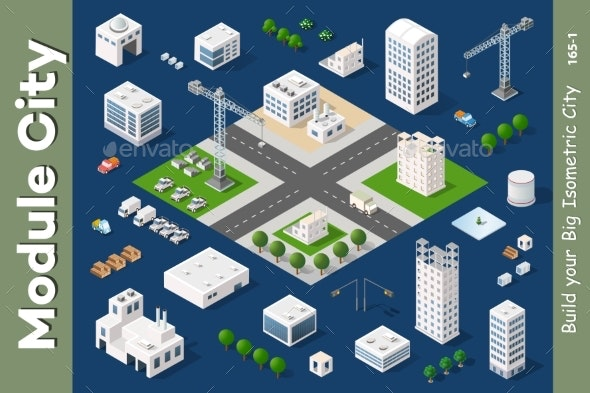 Set of Modern Isometric Buildings - Buildings Objects