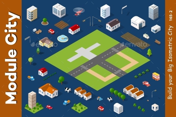 Set of Isometric Houses - Buildings Objects