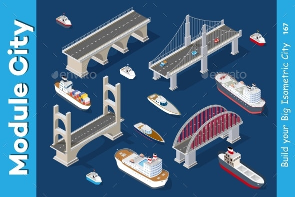 Isometric Models of Ships - Man-made Objects Objects