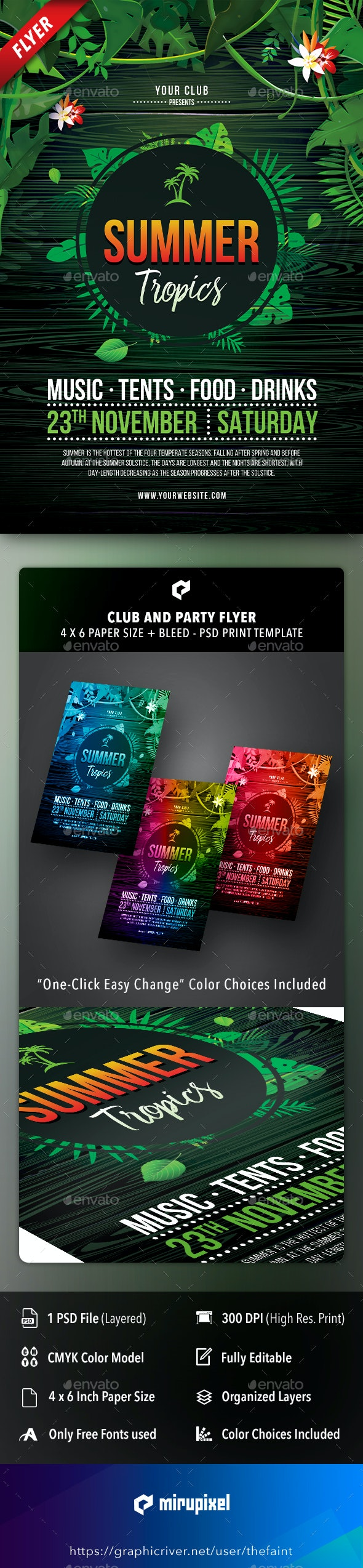 Summer Tropics Club and Party Flyer - Clubs & Parties Events