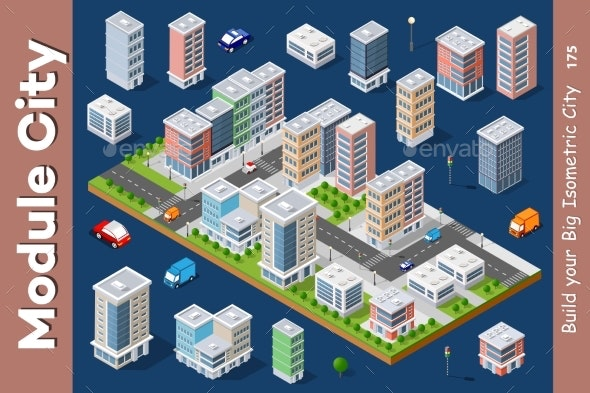 Vector Isometric Urban Architecture - Buildings Objects