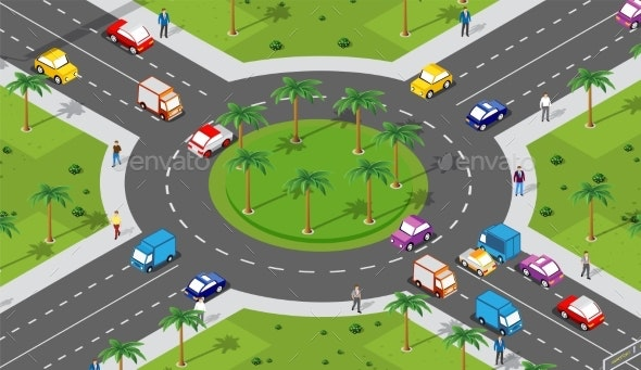Urban Area with an Intersection - Miscellaneous Vectors